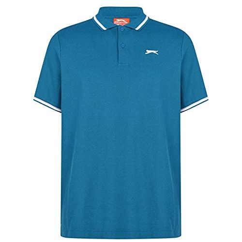 Slazenger Tipped Herren Polo Poloshirt T Shirt Kurzarm Classic Fit Tee Petrol Blau L