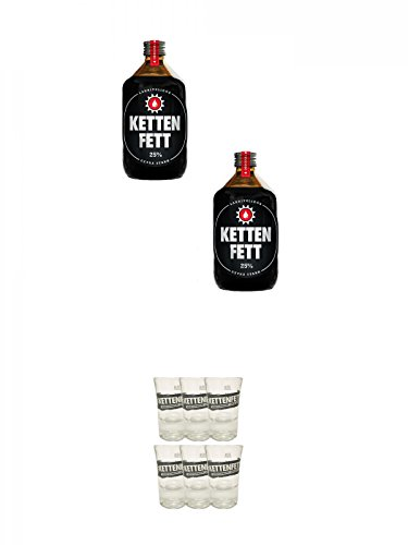 Kettenfett Lakritz Likör 2 x 0,5 Liter Kanne + Kettenfett Shot Glas 6 Stück