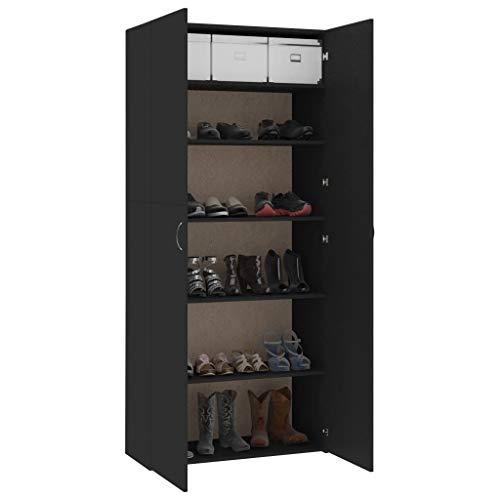 Qnotici Zapatero gabinete de Pasillo Zapatero Armario Zapatero cómoda Negro 80 × 35,5 × 180 cm aglomerado