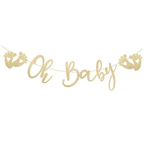 Oh Baby Striscioni Ghirlande Benvenuta Nascita Banner Battesimo Carta Oro DIY Decorazioni per Festa Compleanno di Boy o Girl Party (oro)