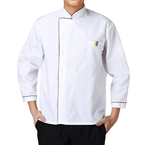 Nanxson Men Chef Jacket Hotel Kitchen Chef Coat Uniform Long Sleeved Working Wear Unisex CFM0002 White