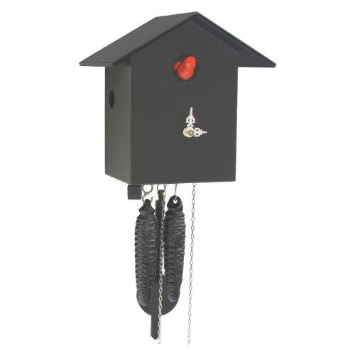 Rombach & Haas Moderne Kuckucksuhr Vogelhaus Kuckuck schlicht schwarz 1-Tagwerk 18 cm