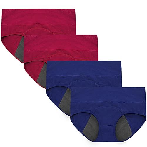Wae's Women's Menstrual Protective Postpartum Plus & Regular Size Cotton Panties Underwear 4-Pack
