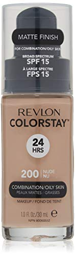 Revlon ColorStay Liquid Foundation Makeup for Combination/Oily Skin SPF 15, Longwear Medium-Full Coverage with Matte Finish, Nude (200), 1.0 oz