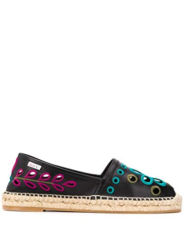 Luxury Fashion | Red Valentino Dames TQ0S0D91IYJ0NO Zwart Leer Espadrilles | Lente-zomer 20