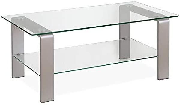 Henn Amp Hart Sleek Nickel And Glass Coffee Table