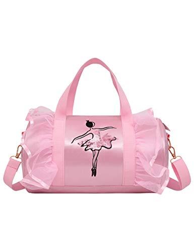 besbomig Bolsas de Baile para niñas Bandolera Diseño de Princesa cilíndrico,Rosado, Bolsa Niños Lindos Bordado Mochila Regalo de Cumpleaños