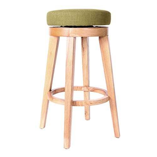 AHUAA Wood Barstool with Swivel Seat, Round Rotating Fabric Cushions Stress-Relieving Simple and Stylish Modern Kitchen (Color : A)