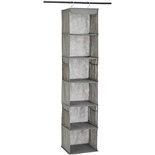 AmazonBasics 6Tier Hanging Closet Shelf Organizer With Pockets