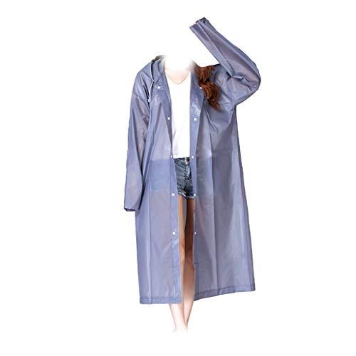DALUXE Regen-Mantel Eva Frauen Raincoat verdickter wasserdicht Regen-Mantel-Frauen Klar Transparent-Tour wasserdichte Regenkleidung Anzug,Grau