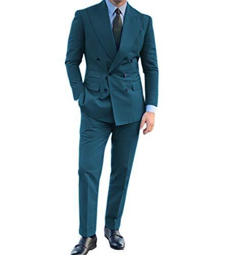 Herrenanzug, Business-Anzug, formell, schmale Passform, Revers, einfarbig, Smoking, zweireihig, (Blazer + Hose), 2 Stück Gr. 60, blaugrün