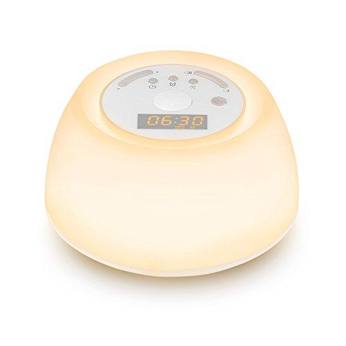 INLIFE Sunrise Reloj Despertador con simulación de Amanecer y 4Sonidos Naturales para Alarma, Ruido Blanco máquina con 4Sonidos de sueño, USB Batería 7 Regulable portátil luz de Noche