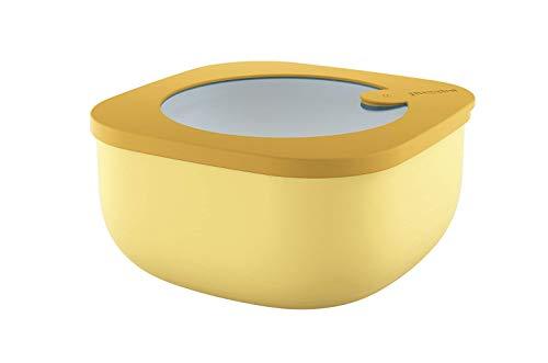 Guzzini Store&More Kitchen Active Design Contenitori Ermetici Bassi per Frigo/Freezer/ Microonde (M), 16 x 16 x 7.8 cm, Giallo (Ochre)