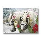 Decorated Pair of Percheron Horses Sleigh Bell Snow Scene Box 12 Christmas Cards