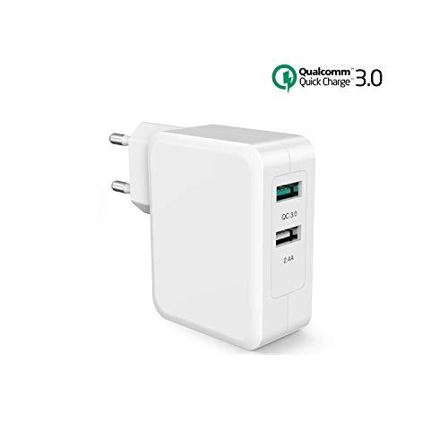 SPLAKS USB Ladegerät 2-Port Quick Charge 3.0 Schnellladegerät für Samsung S7 S8 S9 S10 A50 A40 A30 M30, Note 5/4, HTC One, Tragbar Gerät Mp3 usw.