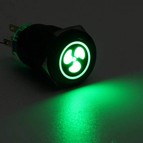Switched Electrical 12V LED Self Lock Switch IP65 Waterproof Metal On-off Switch 19MM Push Button Switch (Color : Green)