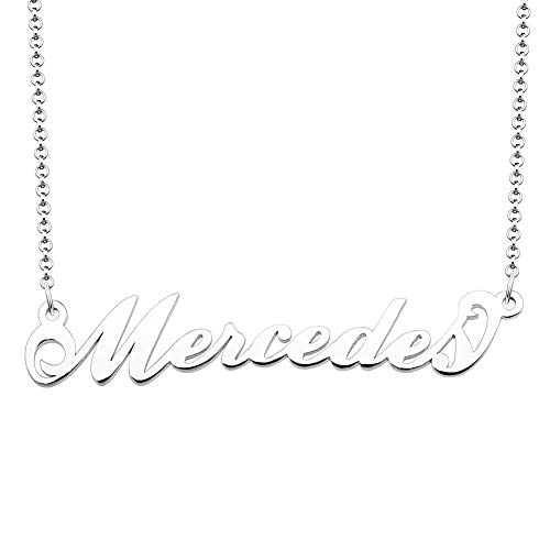SexyMandala Personalized Name Necklace Sterling Silver Initial Necklace Customized Original Font Pendant Jewelry Same Day Shipping Gift for Mercedes