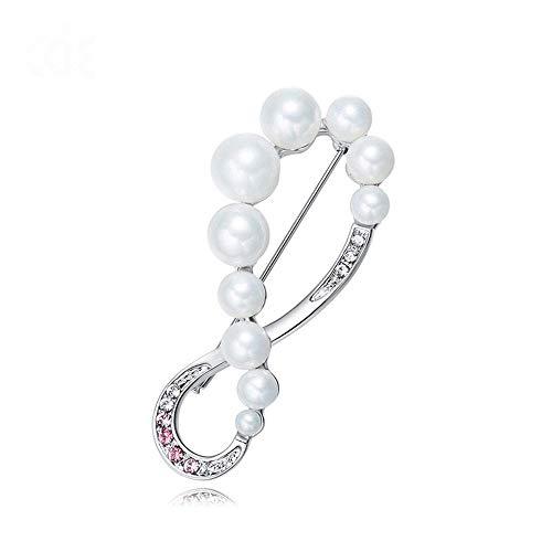 YUXIwang Broche de Broche Creativo señoras de circón Simple Perla con Incrustaciones de Micro-con Lujosa joyería Cristal del Elemento, 5.5 * 2.3cm