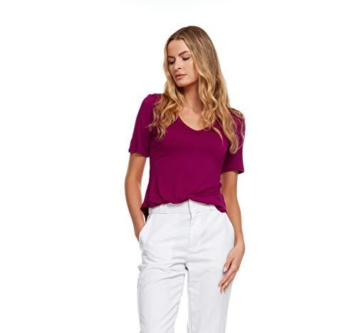 Inner Beauty T-Shirt for Women - Short Sleeve, V-Neck, Rounded Tail Bottom Hem Magenta