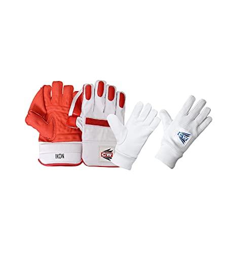 CW IKON Cricket Wicket Keeping Handschuhe Cricket Wicket Keeper Handschuhe Keeping Gloves Combo mit Innenhandschuhen Gepolsterte Handschuhe Gepolsterte Handprotektoren Handschuhe für Wicket Keeper