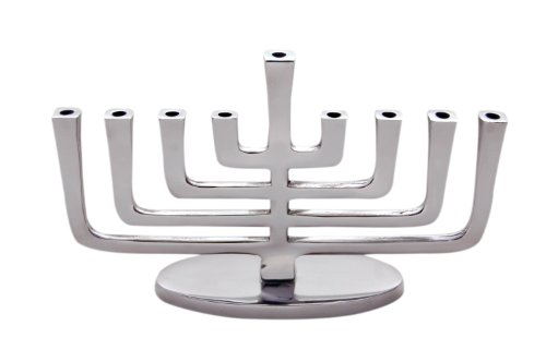 Insideretail 500207–1–2Design Moderno Menorah in Alluminio Lucido, Set da 2Pezzi, in Metallo, 18x 5x 18cm, Argento
