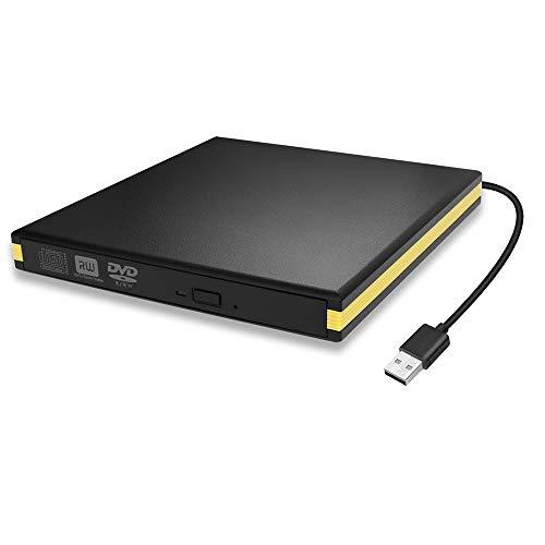 BEVA Lecteur de DVD Externe USB 3.0, Lecteur de CD Portable USB Lecteur de DVD Graveur de CD Externe Lecteur de Disque Graveur pour Ordinateur de Bureau MacBook Mac OS Windows 10/8/7 XP Vista
