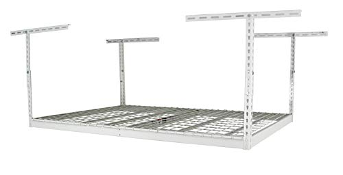 MonsterRax - 4x6 Overhead Garage Storage Rack - Height Adjustable Steel Overhead Storage Rack - 500 Pound Weight Capacity (White, 12