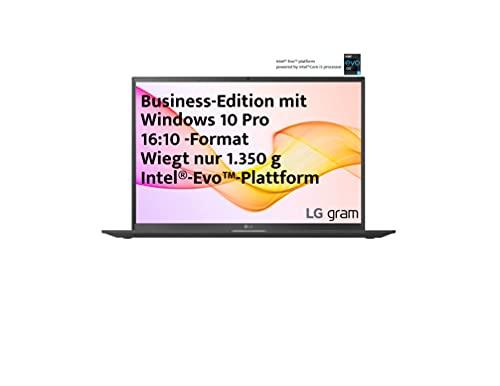 LG gram 17 Zoll Ultralight Notebook Business Edition - 1,36 kg leichter Intel Core i5 Laptop (16GB LPDDR4, 512GB SSD, 19,5 h Akkulaufzeit, WQXGA IPS Bildschirm, Th&erbolt 4, Windows 10 Pro) - Schwarz