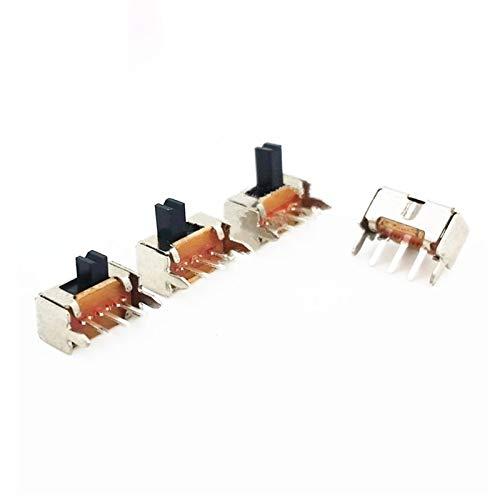 WHHHuan 20pcs Panel PCB 3 Pin 2 Posición 1P2T SPDT Mini Interruptor Deslizante Side Knob 0.5A 50V DC SK12D07-VG2 / 3/4/5/6 Khob Altura (Color : 6mm H)