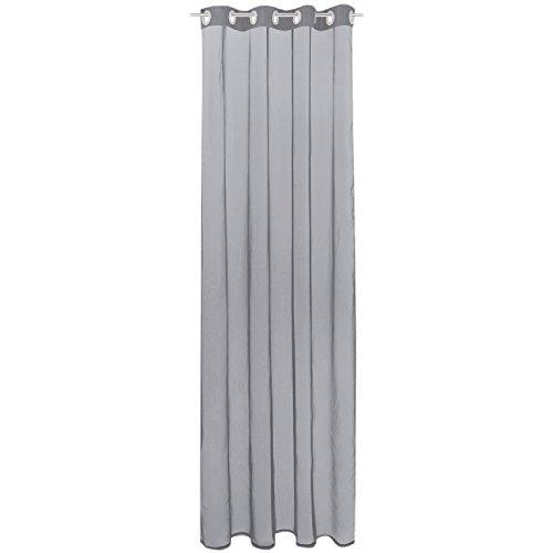 Gardine mit Ösen, Transparent Voile 140 x 145cm (Breite x Länge) in grau - lichtgrau, Ösenschal in vielen weiteren Farben und Größen
