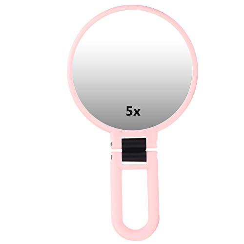 Miroir pliant grossissant 5X, miroir cosmétique réglable voyage miroir de maquillage portable miroir pliant à main avec grossissement 5x pour le maquillage, pincement(Rose)