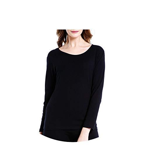 Small-shop&thermal underwear Damen Baumwolle Lange Unterhose Winter Thermounterwäsche Rundhalsausschnitt Lange Ärmel Damen Body Sh - schwarz - XX-Large