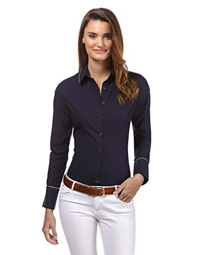 Vincenzo Boretti Damen Bluse leicht tailliert 100% Baumwolle bügelleicht Langarm Hemdbluse elegant festlich Kent-Kragen auch für Business und unter Pullover dunkelblau 40