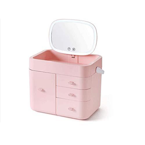 SMEJS Caja organizadora de maquillaje, soporte de almacenamiento de cosméticos con cajones, caja de almacenamiento para pinceles, paletas de labios