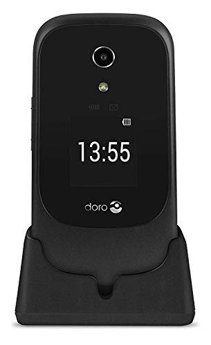 Doro 7060 Telefono Cellulare per Anziani 4G a Conchiglia con Display Esterno, GPS, WhatsApp e Base di Ricarica (Nero)