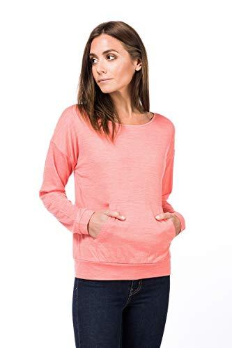 super.natural Damen Langarm-Shirt, Mit Merinowolle, W SLASH NECK TOP, Größe: XL, Farbe: Rosa meliert