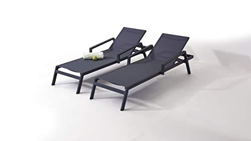 talfa Gartenliege, Relaxliege; Aluminium Gartenmöbel Liegen Set in Anthrazit - Eldorado, 2 Stück Gartenmöbel