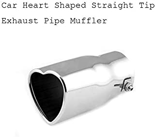 63mm Universele Car Heart Shaped Straight Tip Exhaust Pipe Muffler Silver Stainless steel Styling Anti-corrosion