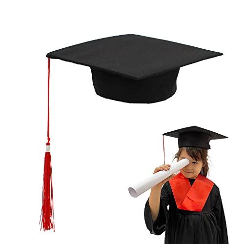 Carnavalife Birrete Graduación Sombrero Estudiante de Graduado Fieltro Gorra Unisex Escuela Secundaria Máster Doctorado (Niño/48-52cm)