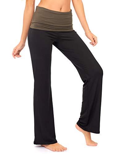 DEAR SPARKLE Fold Over Yoga Lounge Stretch Pants Women | Contrasting High Waist Loose Pregnancy Pant Plus (P8) (Olive, X-Large)