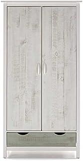 Armoire 2 Portes 1 tiroir Bois Gris Vert Blanc - REPLE - L 90 x l 50 x H 175 - Neuf