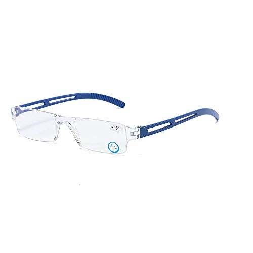 Rahmenlose Lesebrille Sehhilfe mit Blaulichtflilter Anti Blaulicht Lesehilfe für Damen und Herren(Blau,+2.0)