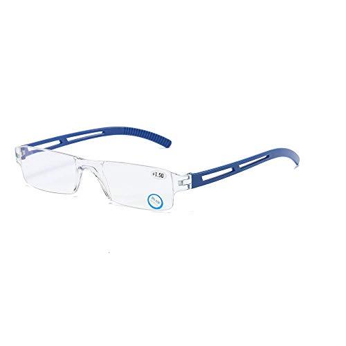 Rahmenlose Lesebrille Sehhilfe mit Blaulichtflilter Anti Blaulicht Lesehilfe für Damen und Herren(Blau,+1.5)