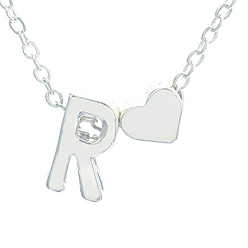 ACEHE Peach Heart-Shaped Letter Necklace Elegant Temperament Wild Boutique 26 Letters Initial Heart Clavicle Chain, R