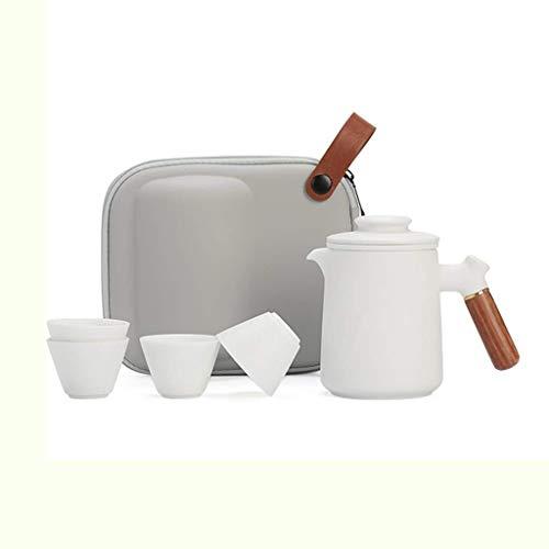 XXSHN Juego de té de Kung Fu de Viaje de cerámica, Taza rápida portátil Anti escaldado, una Olla y Cuatro Tazas, Tetera de cerámica para Exteriores