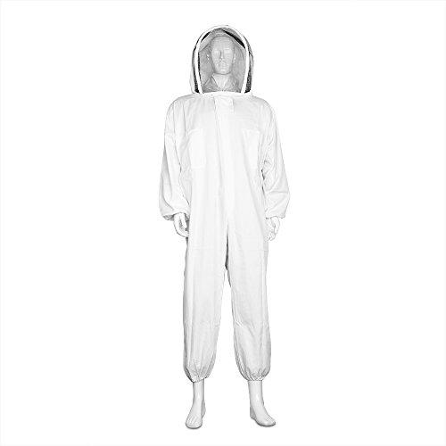 Flexzion Ganzkörper-Imkeranzug, Imkerbekleidung Overall Jacke Outfit Ausrüstung Bienenhaltungszubehör mit schützender, selbsttragender, runder Schleierhaube für Imkerei (M)