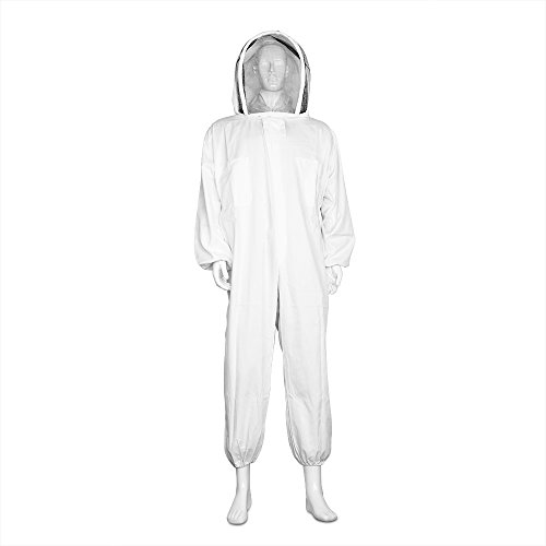 Flexzion Beekeeping Suit Full Body - Beekeeper Suits Coverall Jacket Outfit Equipment Bee Keeping Supplies with Protective Self Supporting Round Veil Hood for Bee Keeper Hive Bee Box (Large)