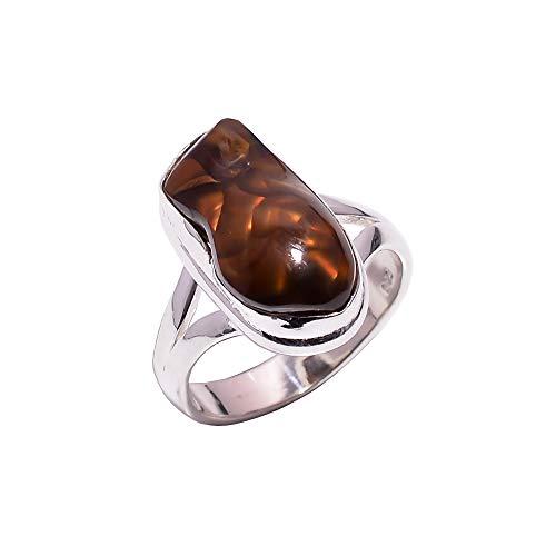 Ring aus 925er-Sterlingsilber, Größe 54, natürlicher mexikanischer Feuerachat, handgefertigt, CR5586