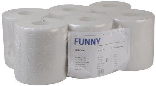 Funny Handtuchrolle, Innenabwicklung 20 cm, 1 lagig, Recycling weiß, 1er Pack (1 x 6 Stück)