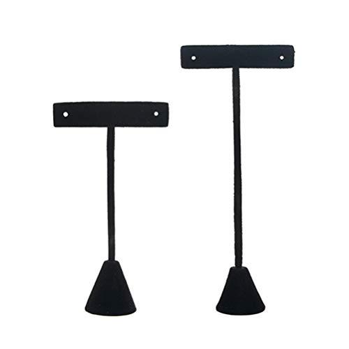 Cabilock 2pcs Flannel Earrings Stand Holder T-Shape Ear Stud Display Rack Jewelry Tree Stand Organizer (Black)